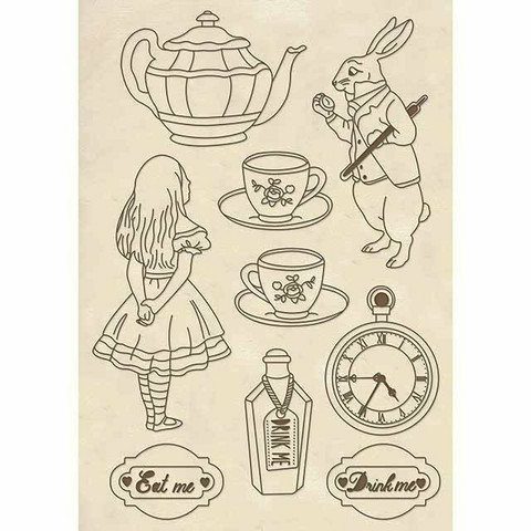 Stamperia Wooden Shapes: Alice -puukuviot