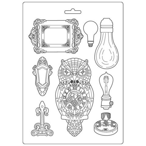 Stamperia Soft Mould A4: Sir Vagabond -  Owl & Memories