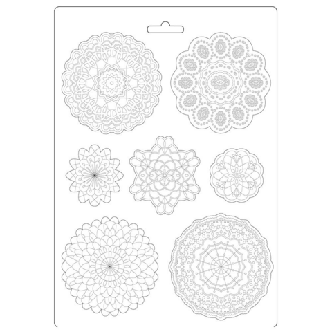 Stamperia Soft Mould A4: Passion Round Lace