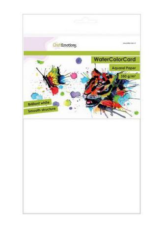 CraftEmotions Watercolorcard 350gsm akvarellipaperipakkaus A4 / 10 arkkia
