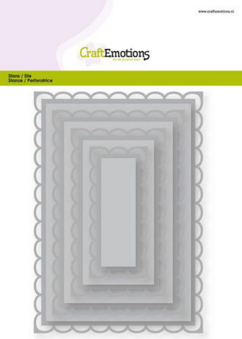 Craft Emotions Big Nesting Dies: Open Scallop Rectangles  - stanssisetti