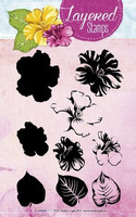 Studio Light: Layered Stamps Hibiscus- kirkas leimasinsetti