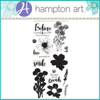 Layering Clear Stamps:  Flower Believe -kirkas leimasinsetti