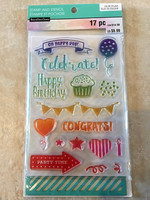 Color Splash Stamp & Stencil: Happy Day - setti