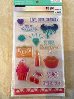 Color Splash Stamp & Stencil: Live Love Sparkle - setti