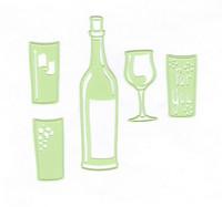 Leabilities: Wine Bottle & Glass -stanssisetti