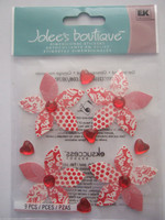 Jolee's Boutique 3D Dimensional Stickers: Red Patterned Flowers