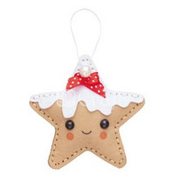 Felt Craft Kit: Gingerbread Star Hanger - askartelupakkaus