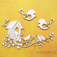 Spring Birds   - chipboardpakkaus