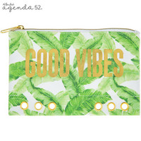 Canvas Pouch: Palm Leaves Quote