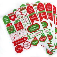Recollections Christmas Stickers: Red & Green Mini Labels - tarrapakkaus