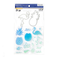 Coastal Village: Flamingo & Pineapple stamps & dies -setti
