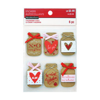 Layered Stickers Valentine: Mason Jars  -tarrat