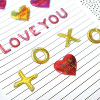 Valentine Puffy Stickers: XOXO Metallic