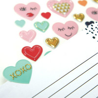 Valentine Puffy Stickers: Galentine's Day Scattered Hearts