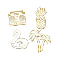 Recollection Embossed Chipboard Icons: Tropical