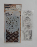 Tim Holtz stamps & stencil: Floral  -setti