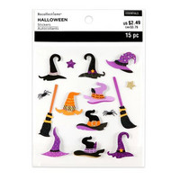 Halloween 3D Stickers: Witch Hats & Brooms