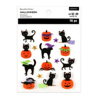 Halloween 3D Stickers: Cats on Pumpkins