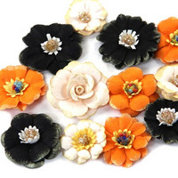 Recollections Paper Flowers:  Halloween Orange & Black
