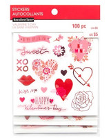 Recollections:  Pink Valentine Clear Stickers -tarrapakkaus