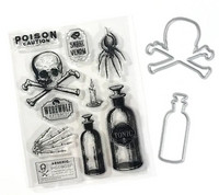 Halloween stamps & dies: Poison & Skull  -setti