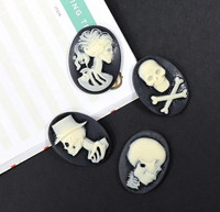 Halloween Resin Embellishments: Skeleton Cameos
