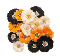 Recollections Paper Flowers:  Halloween Orange & Black