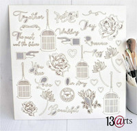 13arts Chipboard : Rosalie 12x12   - chipboardkuvioarkki