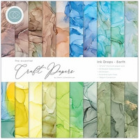 CC Essential Craft Papers 12 x 12 :  Ink Drops - Earth