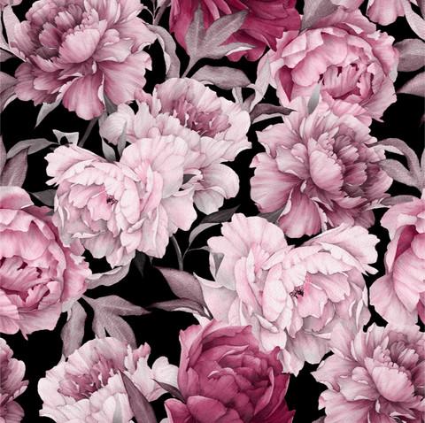 Watercolor peonies, old rose, trikoo