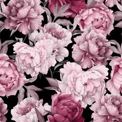 Watercolor peonies, old rose, joustocollege