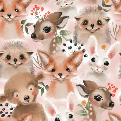 Forest animals, light pink, trikoo