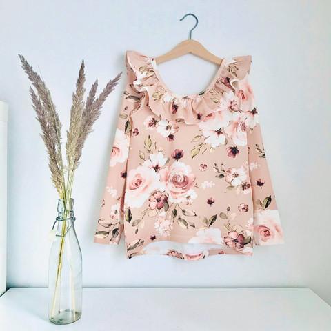 Boho flowers, pähkinä, trikoo