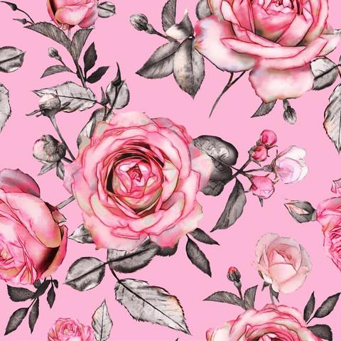 Giant pink roses, vaaleanpunainen, trikoo