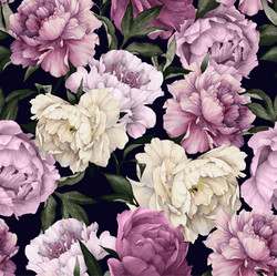 Watercolor peonies, muste, trikoo