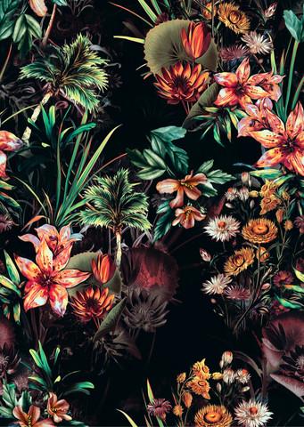 Tropical flowers, joustocollege (Lievä 2-laatu)