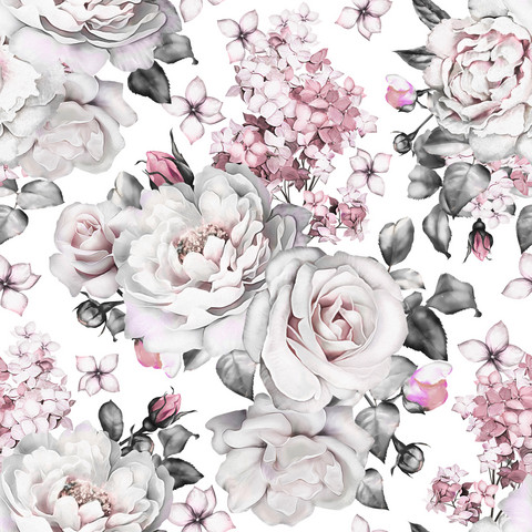 Big flowers, white, trikoo
