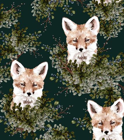 Ketunpojan kurkistus, forest green, trikoo