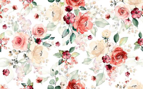 Pretty flowers, red-nude, trikoo