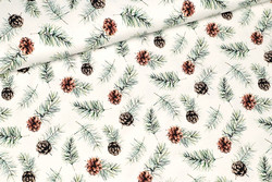 Cones and branches, white, trikoo