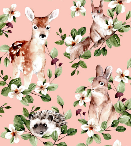 Sweet animals, rose-trikoo (pienempi kuvion koko)