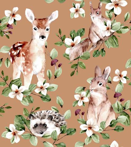 Sweet animals, beige-trikoo (pienempi kuvion koko)