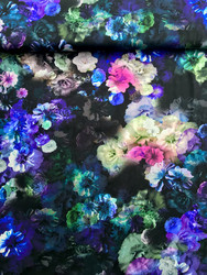 Flowers, black/violet, trikoo