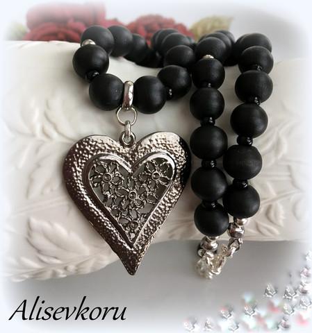 3639 Alise Design Puuhelmikaulakoru sydän VALITSE VÄRI