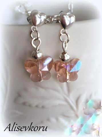 3899  Alise Design Kristalliperhonen korvakorut, VALITSE koukku tai nappimalli