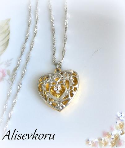3907 Alise Design  Sydän kaulakoru kaksivärinen
