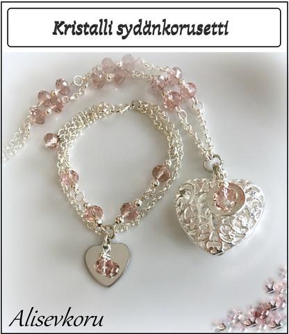 3912 Alise Design Sydänkorusetti kristallein, omalla tekstillä