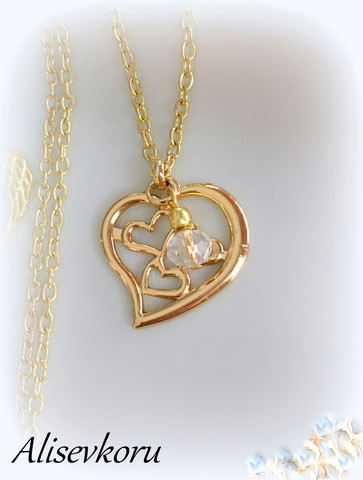 4007 Alise Design Sydämmet kaulakoru kulta, kristallilla