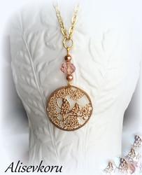 4026 Alise Design Lintupuu kaulakoru kristallilla